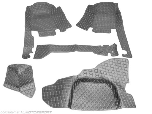 MX-5 Quilted Black Carpet Mat Set With Black Stitching 5 Piece