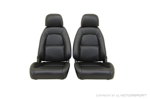Leather Seat Covers (set of two) Black With Silver Stitching