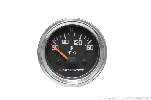 MX-5 Oil Temperature Gauge Ø 52mm Black With Chromed Ring I.L.Motorsport