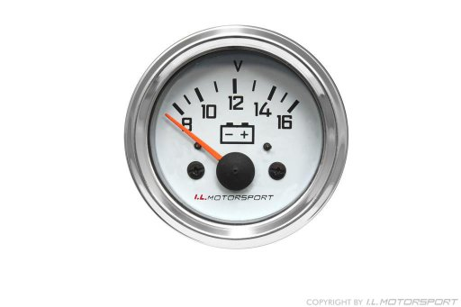 MX-5 Voltmeter Gauge Ø 52mm White With Chromed Ring I.L.Motorsport