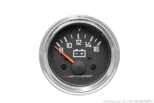 MX-5 Voltmeter Gauge Ø 52mm Black With Chromed Ring I.L.Motorsport