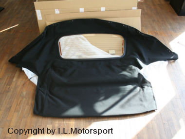 MX-5 Black Mohair Hood With Glass Window Genuine